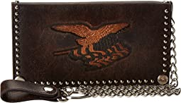 M&F Western - Eagle Flag Patriotic Embossed Checkbook Wallet w/ Chain