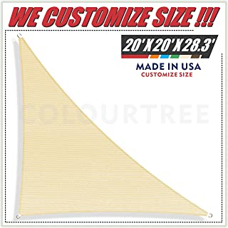 ColourTree 20' x 20' x 28.3' Right Triangle Beige Sun Shade Sail Canopy Awning Sunshades– UV Resistant Heavy Duty Commercial Grade for Outdoor Patio Carport Pergola, (We Make Custom Size)