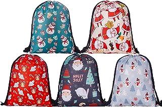 KPCB Drawstring Christmas Bags for Gifts Large Drawstring Backpack Santa's Sack 5 Pack, 16 * 12.6 inch