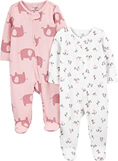 Simple Joys by Carter's Baby Girls' 2-Pack 2-Way Zip Thermal Footed Sleep and Play