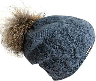 Frost Hats Cashmere Cable Hat with Detachable Genuine Fox Fur Pom CSH-735SRN