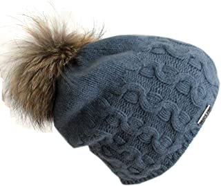 Frost Hats Cashmere Cable Hat with Detachable Genuine Fox Fur Pom CSH-735SRN