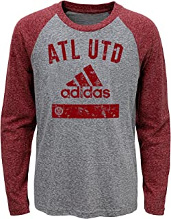 MLS Atlanta United FC Boys Outerstuff Triblend Equiptment Long Sleeve Tee, Heather Grey, Kids Large (6-7)