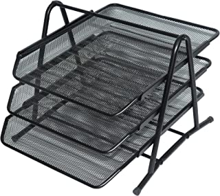 FIS Wire Mesh Trays Set of 3 Trays, Black Color, Suitable for A4 Documents - FSOTB82001
