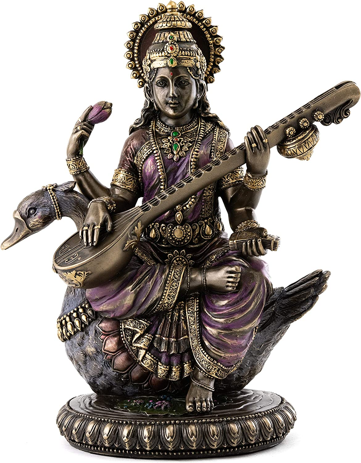 Top Collection Saraswati Sitting on Statue Vina New popularity Playing the Swan Direct stock discount