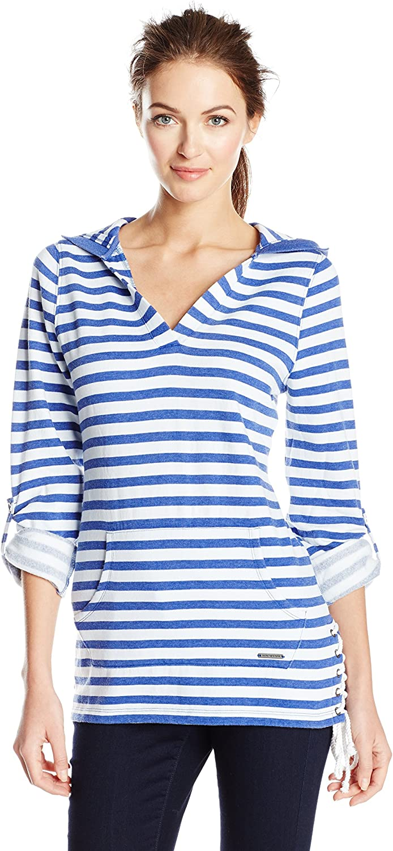Marc New York Performance Womens Stripe Roll Sleeve Fleece Tunic Shirt