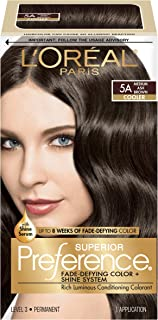 L'OrÃal Paris Superior Preference Fade-Defying + Shine Permanent Hair Color, 5A Medium Ash Brown, 1 kit Hair Dye 1 Count