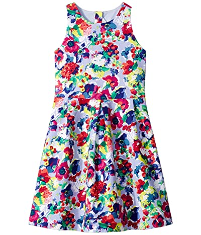 Janie and Jack Floral Fit and Flare Dress (Toddler/Little Kids/Big Kids) (Neon Floral) Girl