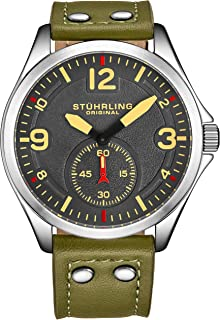 Stührling Original Men's Stainless Steel Sport Aviator Watch, Casual Leather Strap with White Contrast Stitching, 684