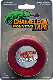 Chameleon Heavy Duty Double Sided Mounting Tape, Indoor and Outdoor, 1 inch x 60 inches, Clear