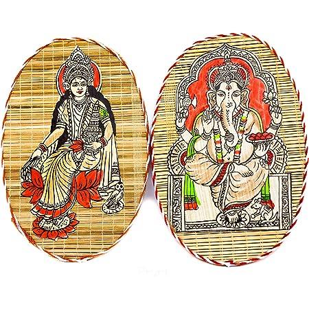 DC ECO Home Decor Wall Hanging Religious Idol LAXMI & Ganesh Hand Made (12 * 18 cm)