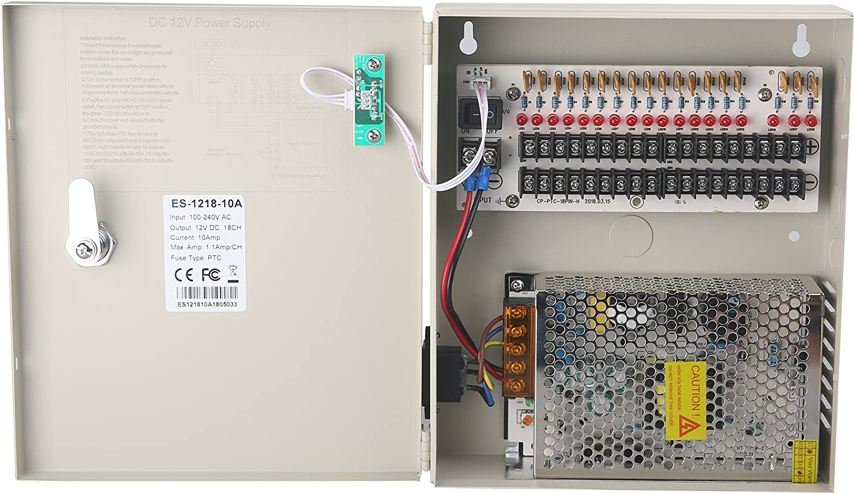 EVERSECU 18 Popular popular Channel DC12V Same day shipping 20 Amp CCTV Distributed Fuse Reset DC