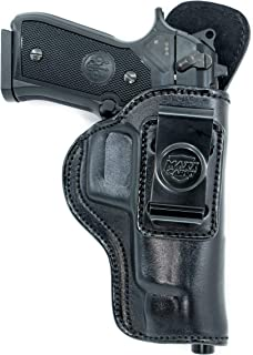 Cardini Leather USA Inside The Waistband Leather Holster for Beretta 92FS Series. IWB Holster with Clip Conceal Carry.