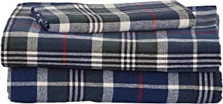 Stone & Beam Rustic 100% Cotton Plaid Flannel Bed Sheet Set, Easy Care, Twin XL, Blue and Green