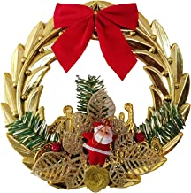 CraftVatika Christmas Wreath Artificial Garland for Front Door Wall Hanging Christmas Tree Decorations Home Decor (Golden)