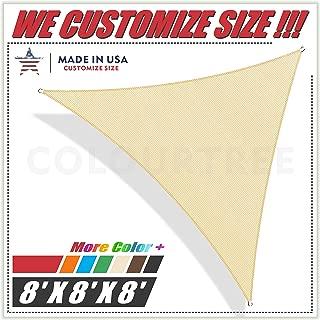 ColourTree 8' x 8' x 8' Triangle Beige Sun Shade Sail Canopy Awning Sunshades– UV Resistant Heavy Duty Commercial Grade for Outdoor Patio Carport Pergola, (We Make Custom Size)