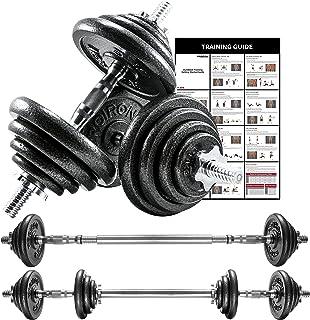 Proiron Halterset met 2 korte halterstangen en gietijzeren gewichtsschijven, 20 kg, met gekartelde greep, stersluitingen e...