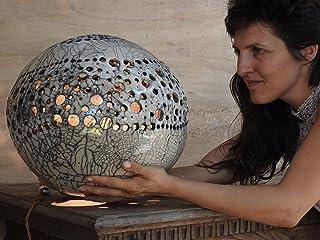 Artistic raku pottery lamp for a romantic and elegant atmosphere