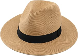 Melesh Straw Fedora Hat for Women Men Fine Braid Wide Brim Sun Beach Panama Hat