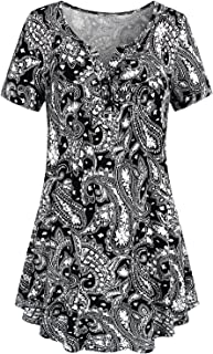 Women's Crewneck Button-up Ruched Short Sleeve Tunic Shirt