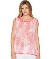 Tommy Hilfiger Sleeveless Paisley Woven Top with Trim