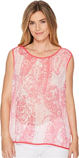 Sleeveless Paisley Woven Top with Trim