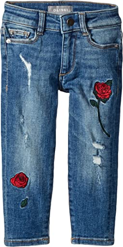 Chloe Mid Wash Skinny with Embroidery Adjustable Waist Band and Snap Button in Wannabe (Toddler/Little Kids)