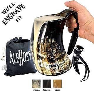 AleHorn – Viking Drinking Horn – Large Tankard – Genuine Handcrafted..