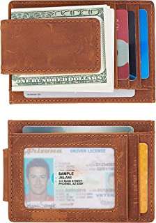 Slim Minimalist Genuine Leather Magnetic Front Pocket Money Clip Wallet RFID Blocking