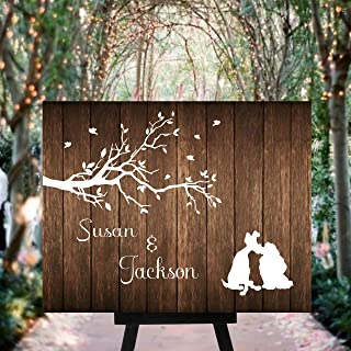 Surprising Rustic Wood Pallet Lady and The Tramp Wedding Welcome Sign Guest Book Alternative Custom Wood Guest Book WS08100