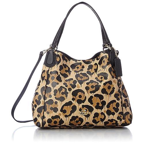 49d23ed5b827 COACH Women s Leopard Ocelot Print Edie 28 LI Wild Beast Cross Body