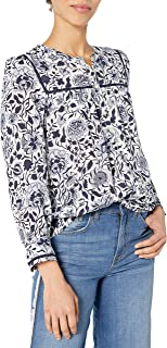 Lucky Brand Women's Long Sleeve V Neck Sophie Floral Popover Top