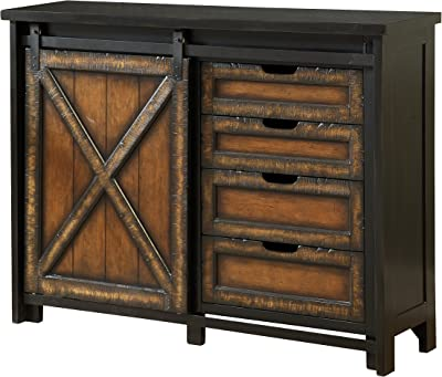 Treasure Trove Accents Four Drawer One Sliding Door Media Cabinet, Black/Brown