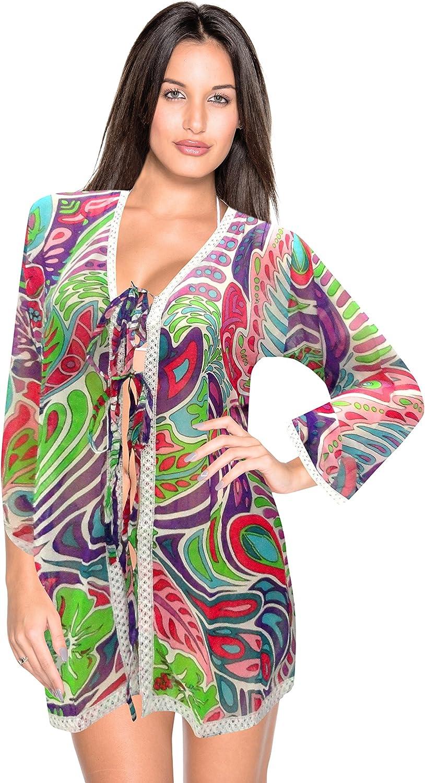 LA LEELA Women's Boho Open Front Cardigan Shirt Long Sleeve Lightweight Coat