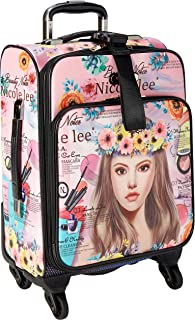 """Nicole Lee 18"""" Graphic Pink Carry-on Luggage, 4 Spinner Wheels"""