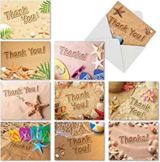Beach Notes - 10 Assorted Thank You Cards with Envelopes (4 x 5.12 Inch) - Box of Gratitude Beach Theme Greeting Cards - Tropical Vacation, Ocean Notecard Stationery Set AM6113TYG-B1x10