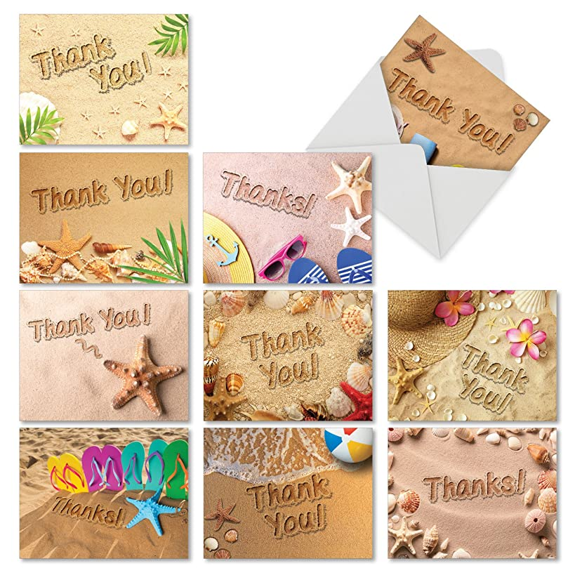 10 'Beach Notes' Thank You Cards w/ Envelopes, Assorted Beach-Themed Appreciation Greeting Cards, Stationery Set for Weddings, Baby Showers, Thanksgiving 4 x 5.12 inch AM6113TYG-B1x10