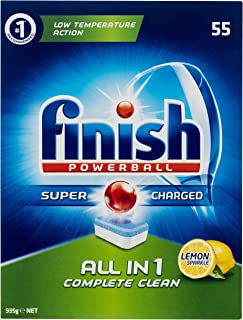 Finish Powerball All in One Dishwasher Tablets, Lemon Sparkle, 55 Pack