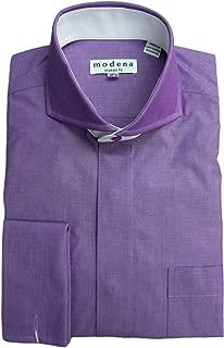 Modena Men's Solid Cutaway Collar French Cuff Dress Shirt
