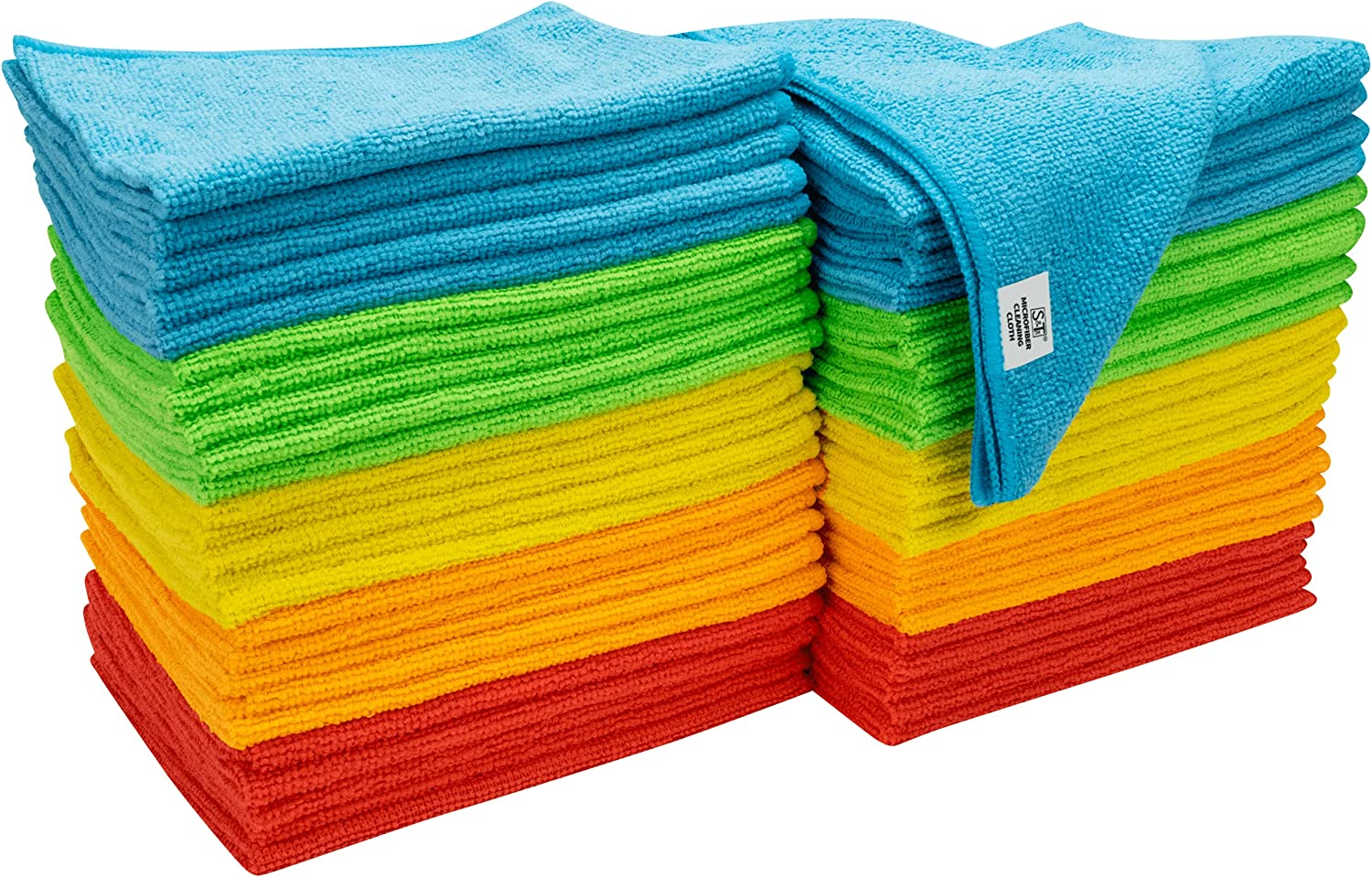 S&T INC. Microfiber Cleaning Cloths, Reusable and Lint-Free Towels for Home, Kitchen and Auto, 50 Pack, 12 Inch x 16 Inch, Assorted