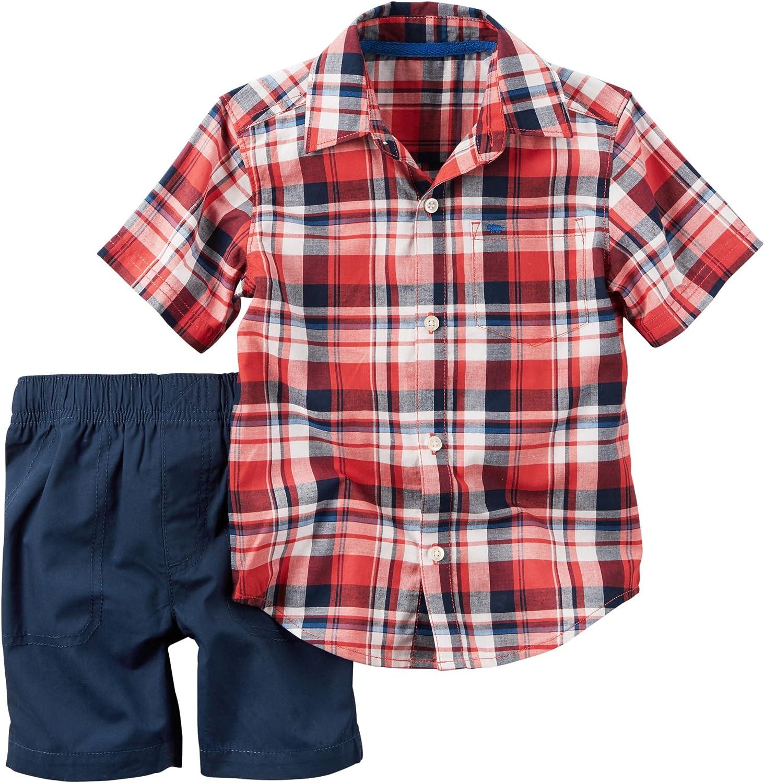 Carters Toddler Boys Plaid Poplin Shorts Set