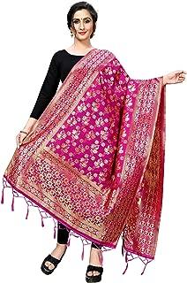 Perfectblue Women's Kora Silk Banarasi Dupatta/Chunni(LeafDupataVariation)
