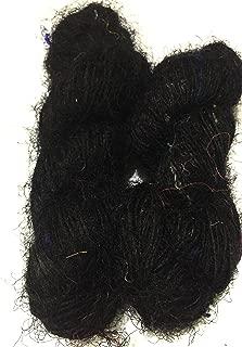 PREMIUM Sari Silk Yarn - Recycled Yarn Black shade (160 yards per 100 grams)