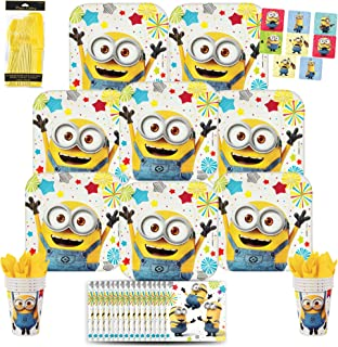 B-THERE Despicable Me Minion Party Pack Bundle - Despicable Me Minion Birthday Set, Seats 8: Plates, Cups, Napkins, Cutlery and Stickers. Childrens Party Supplies
