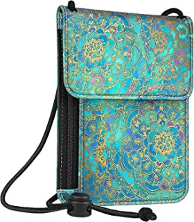 Passport Holder Neck Pouch [RFID Blocking] Premium PU Leather Travel Wallet, Shades of Blue