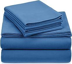 Pinzon Signature Cotton Heavyweight Velvet Flannel Sheet Set - California King, Smoky Blue