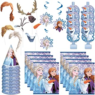 Frozen 2 Movie Party Favor Bundle Officially Licensed by Unique | Decorations, Hats, Blowouts, Loot Bags, Photo Props