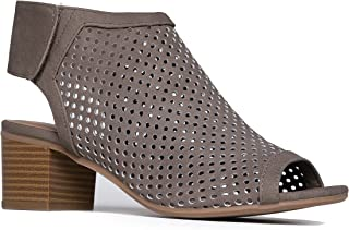 laser cut out peep toe booties