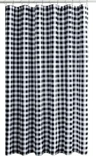Biscaynebay Textured Fabric Shower Curtains, Printed Checkered Bathroom Curtains, Black and Grey 72W by 84H Inches