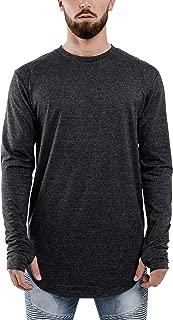 Blackskies Round Long Sleeve Basic Men's Longline T-Shirt | Oversized Curved Hem Sweater L/S Long Tee S M L XL
